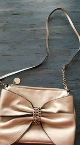 ELLE gold purse NWOT great bow & chain detail